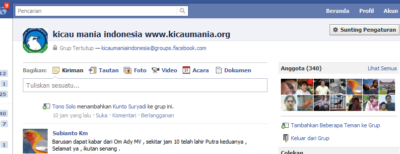 tampilan depan kicaumania di facebook