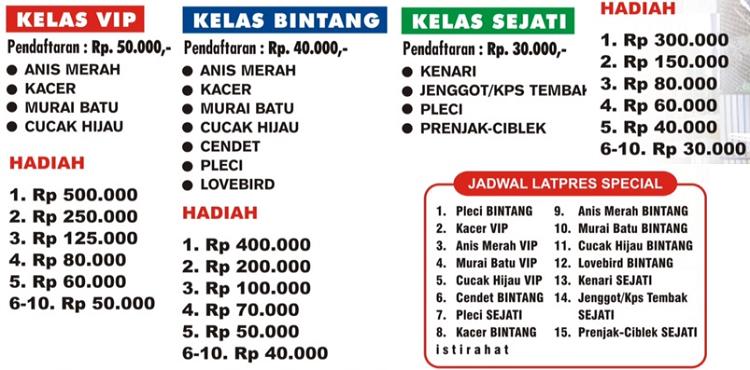Kelas - tiket dan jadwal gantang Latpres Burung Spesial Krakatau Team