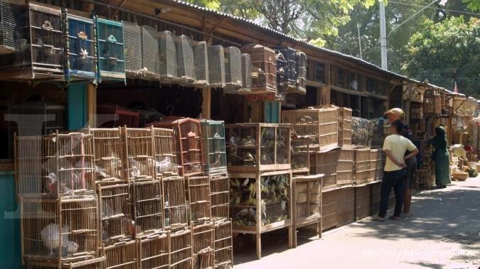 Deretan pasar darurat di jalan depan Pasar Depok Solo yang sedang direnovasi