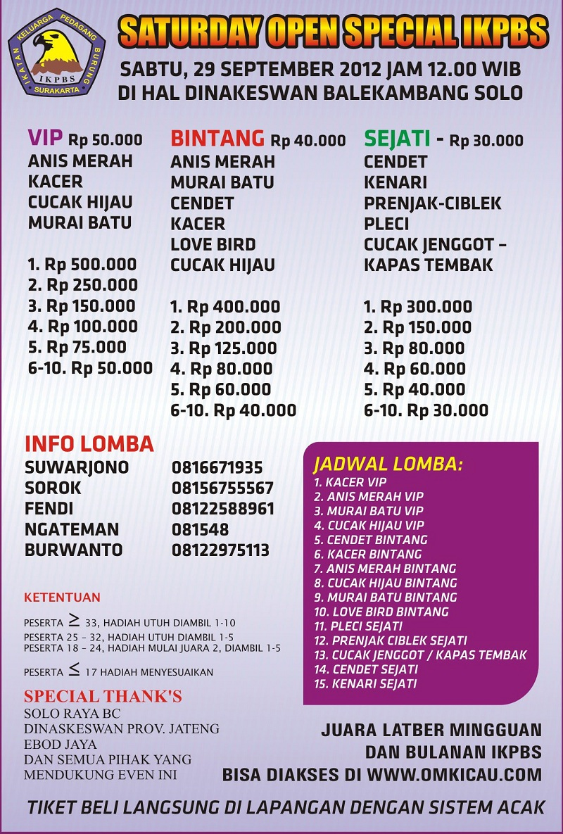 Lomba Saturday Open Special IKPBS 29 September 2012