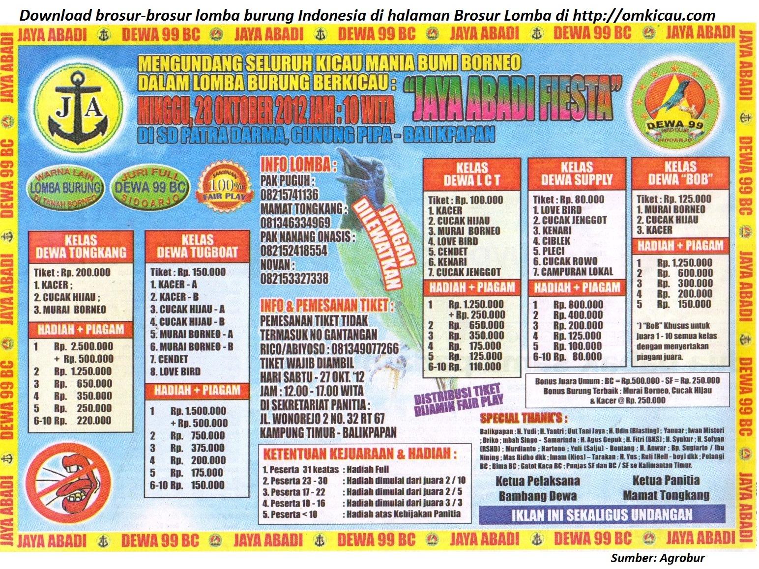 Lomba Burung Jaya Abadi Fiesta Balikpapan 28 Oktober 2012