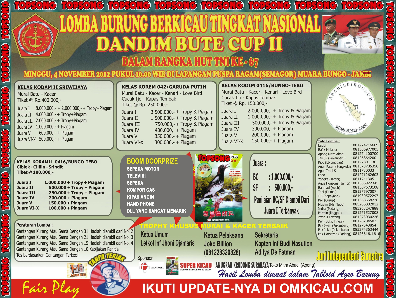 Lomba Burung Nasional Dandim Bute Cup II Muara Bungo Jambi 4 November 2012