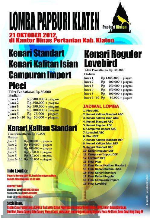 Lomba Burung Papburi Klaten 21 Oktober 2012
