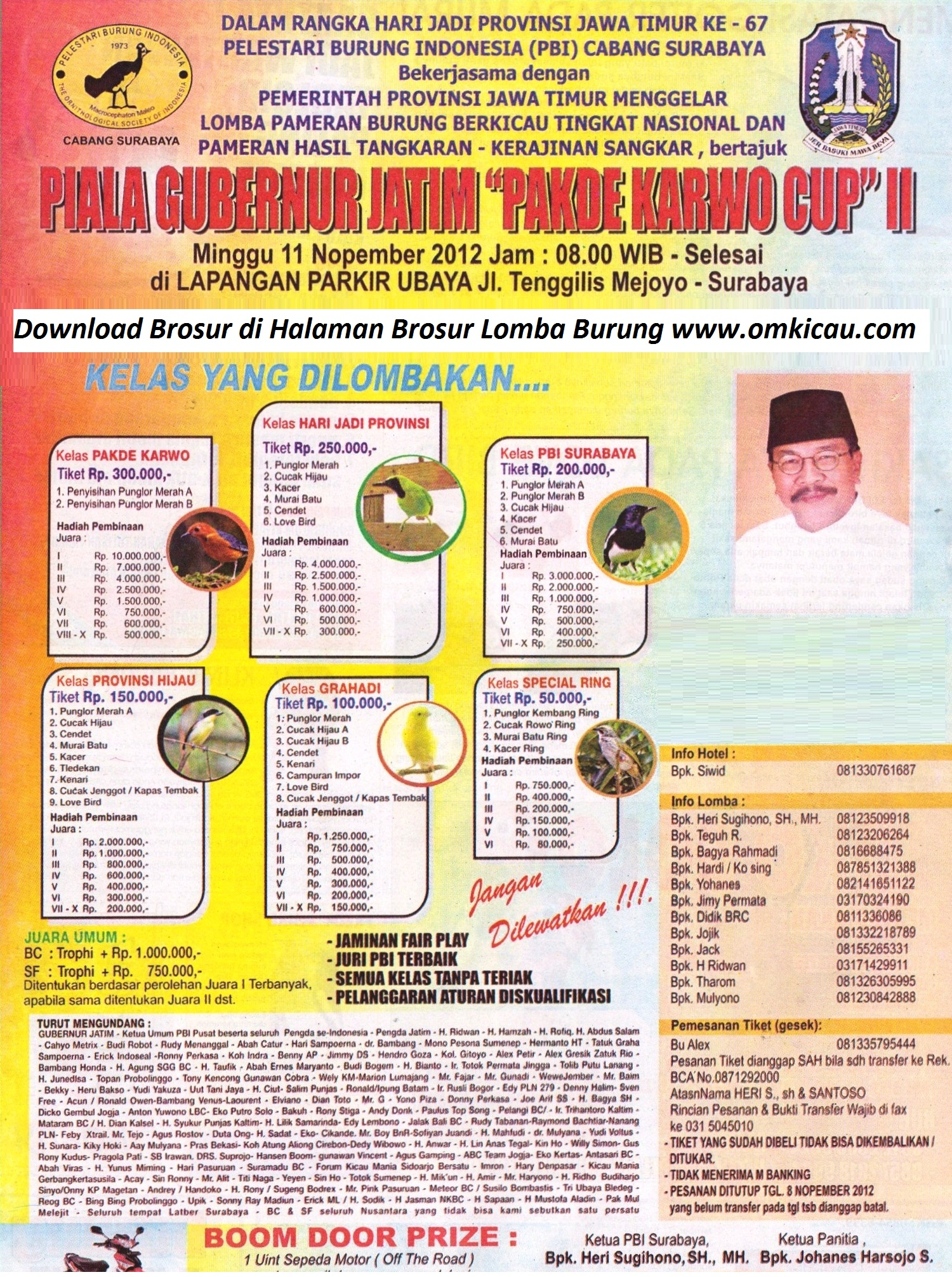Lomba Burung Piala Gubernur Jatim Pak De Karwo Cup II - 11 November 2012 Surabaya