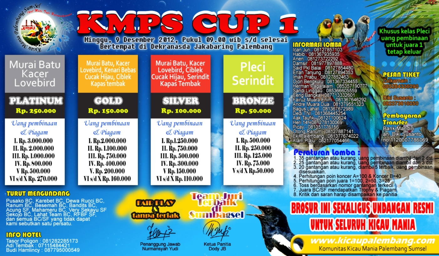 Lomba Burung KMPS Cup 1 - Minggu 9 Desember 2012 - Palembang
