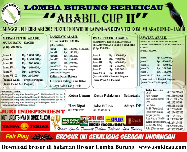 Lomba Burung Berkicau ABABIL CUP II, 10 Februari 2013 Muara Bungo - Jambi