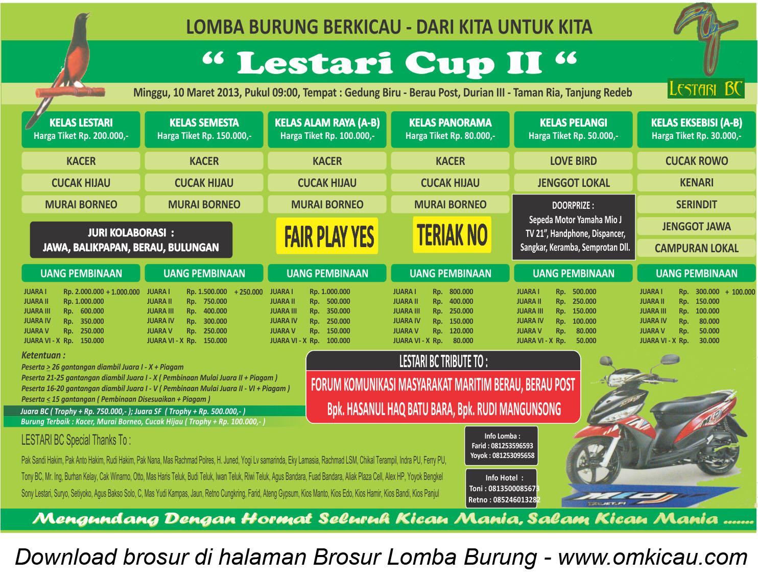 Brosur Lomba Burung Lestari Cup