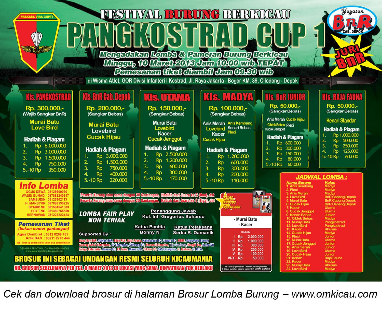 BROSUR LOMBA BURUNG PANGKOSTRAD CUP - DEPOK 10 MARET 2013