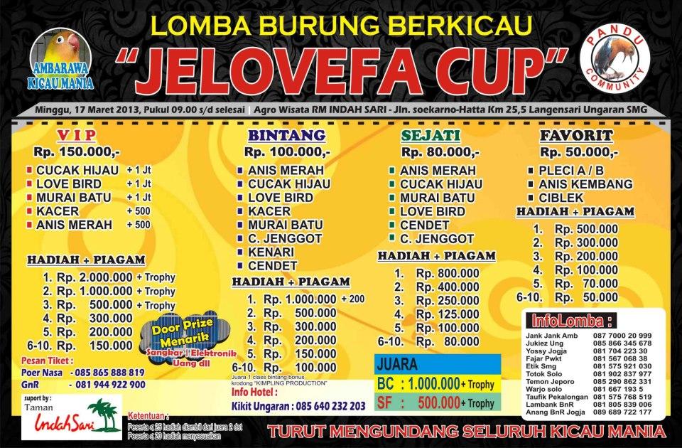 Lomba Burung Berkicau Jelovefa Cup Ungaran 17 Maret 2013