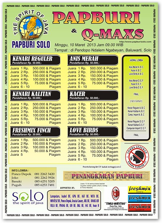 Lomba Burung Papburi Solo 10 Maret 2013
