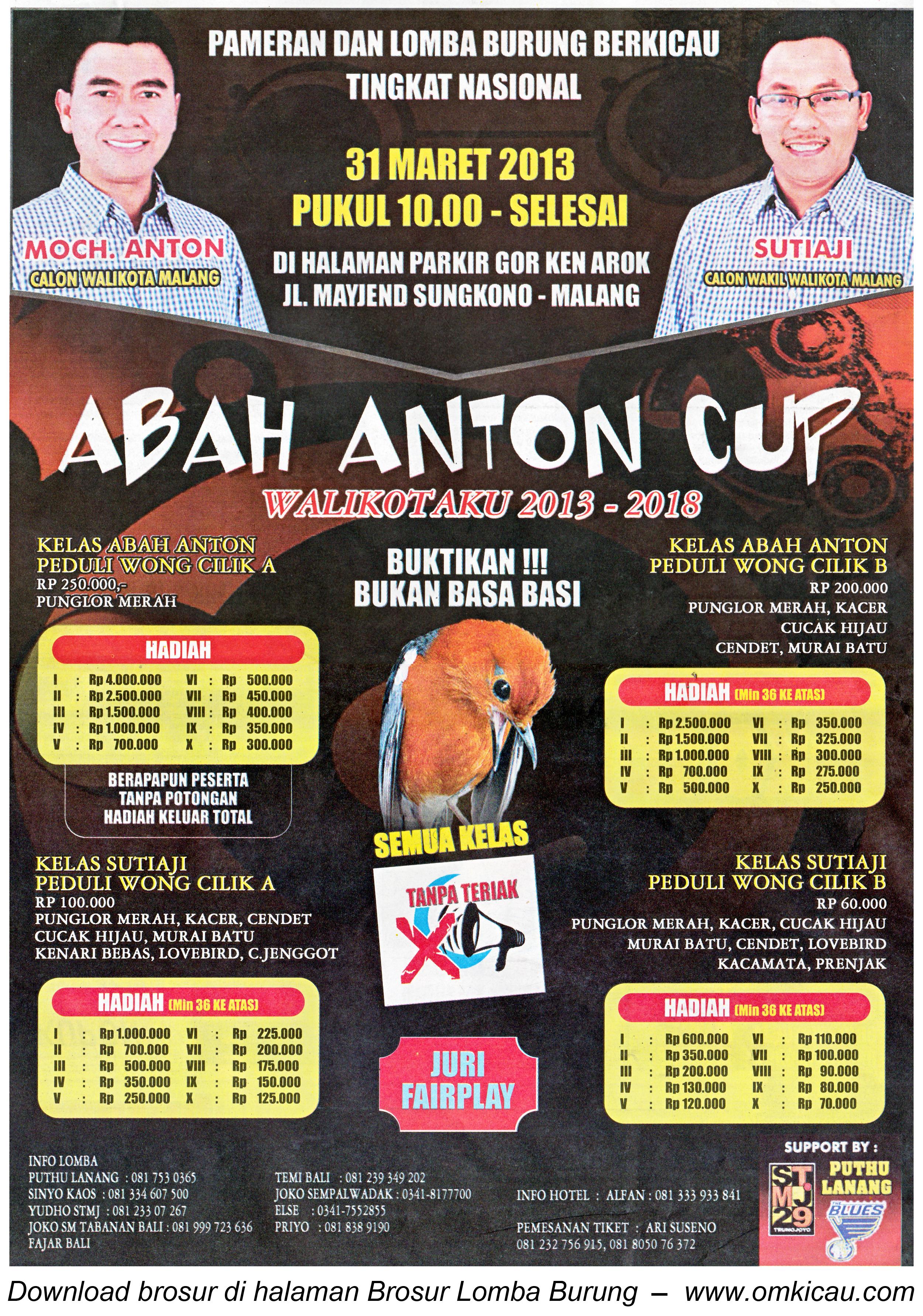 Brosur Lomba Burung Abah Anton Cup