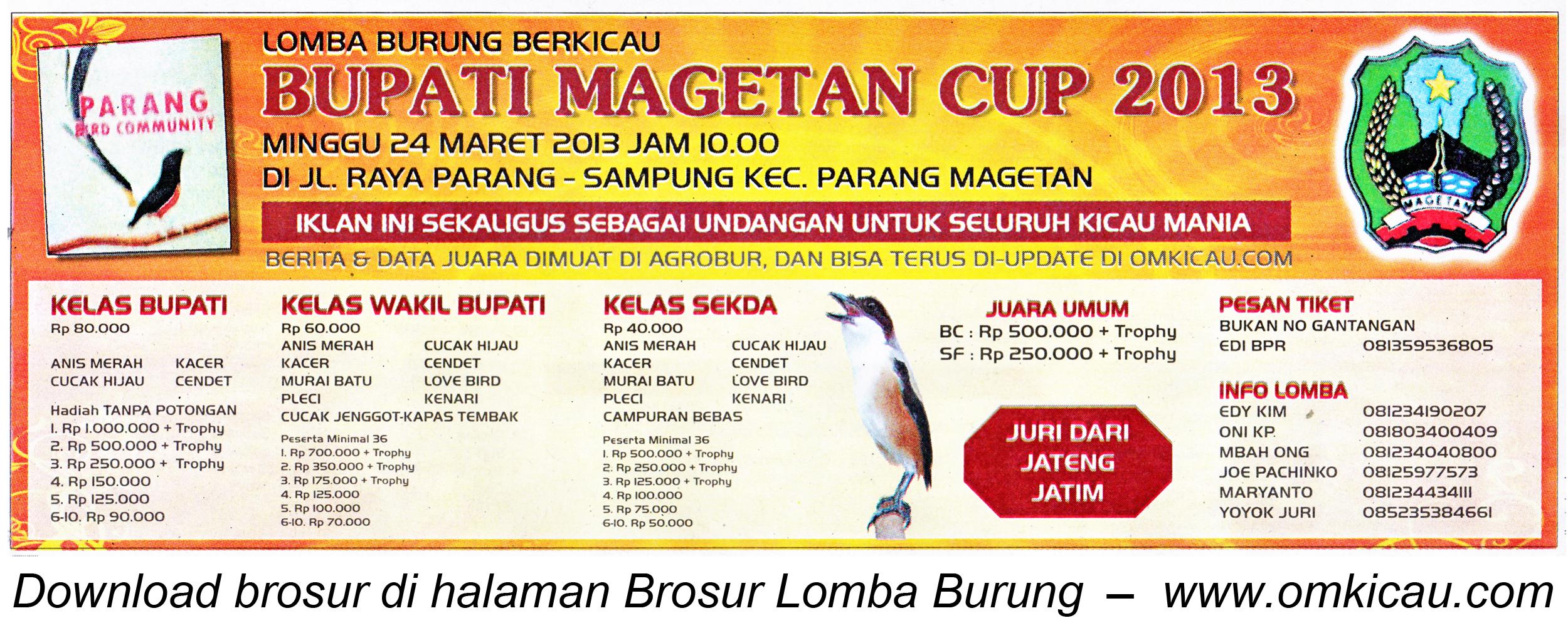 Brosur Lomba Burung Bupati Magetan Cup