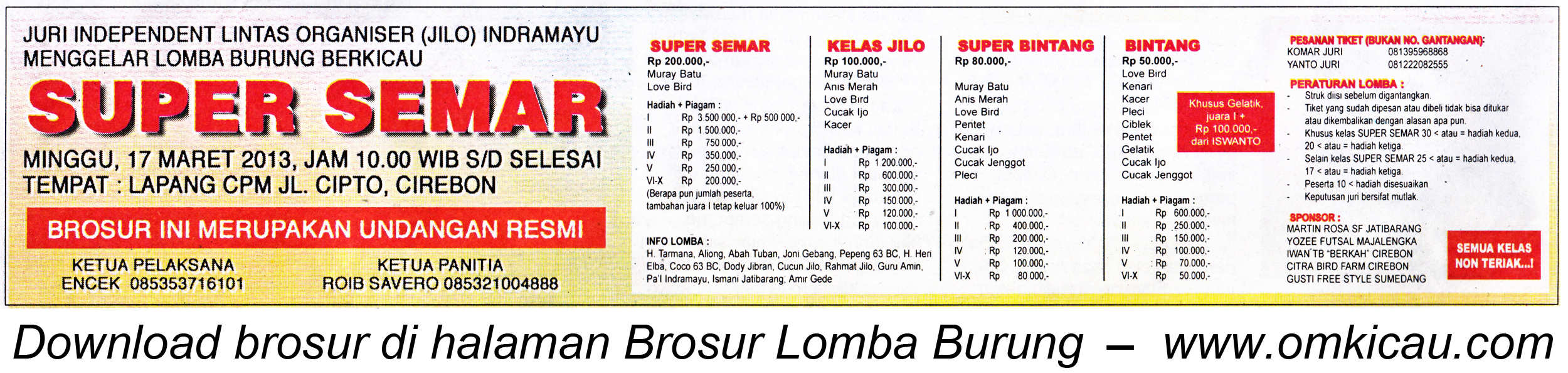 Brosur Lomba Burung Super Semar Cirebon
