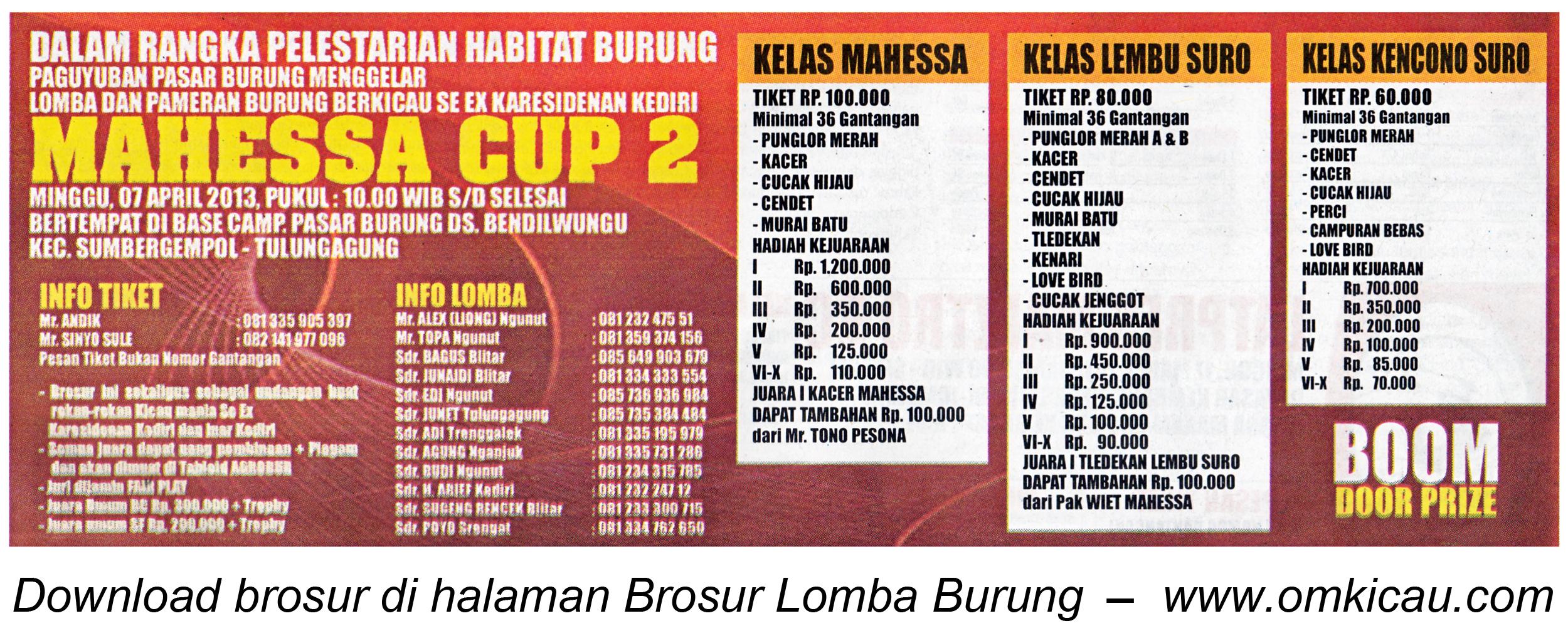 Brosur Lomba Mahessa Cup 2