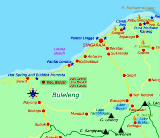 Peta Desa Gesing, Kecamatan Banjar, Kabupaten Buleleng, Bali.