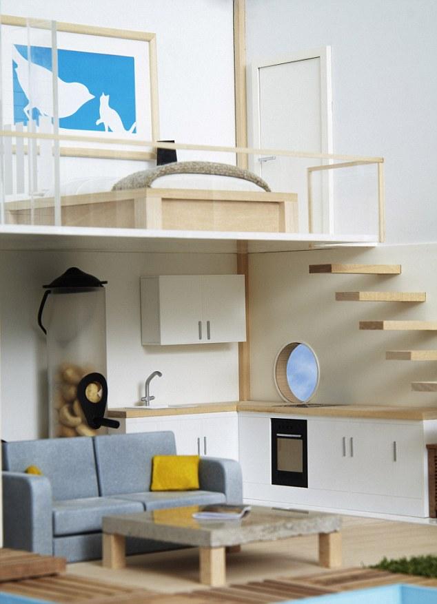 Desain Interior: Rumah burung juga dilengkapi dengan home gym, en-tweet kamar tidur utama dan tangga mengambang kontemporer untuk melengkapi tampilan gaya