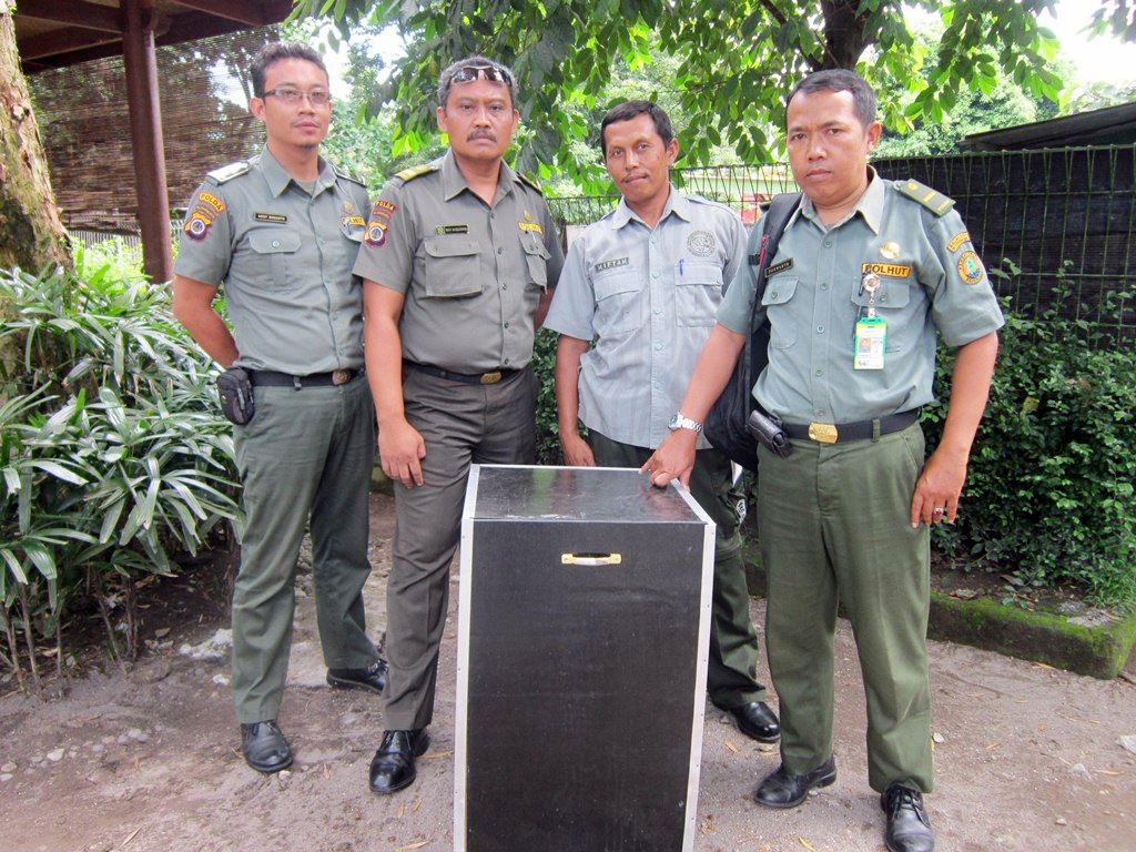 Kepala Resort BKSDA Jogja (kanan) menyerahkan elang bido kepada GLZoo yang diterima Kabid Perawatan Satwa, Miftah (dua dari kanan). (Foto: Dokumentasi GLZoo)