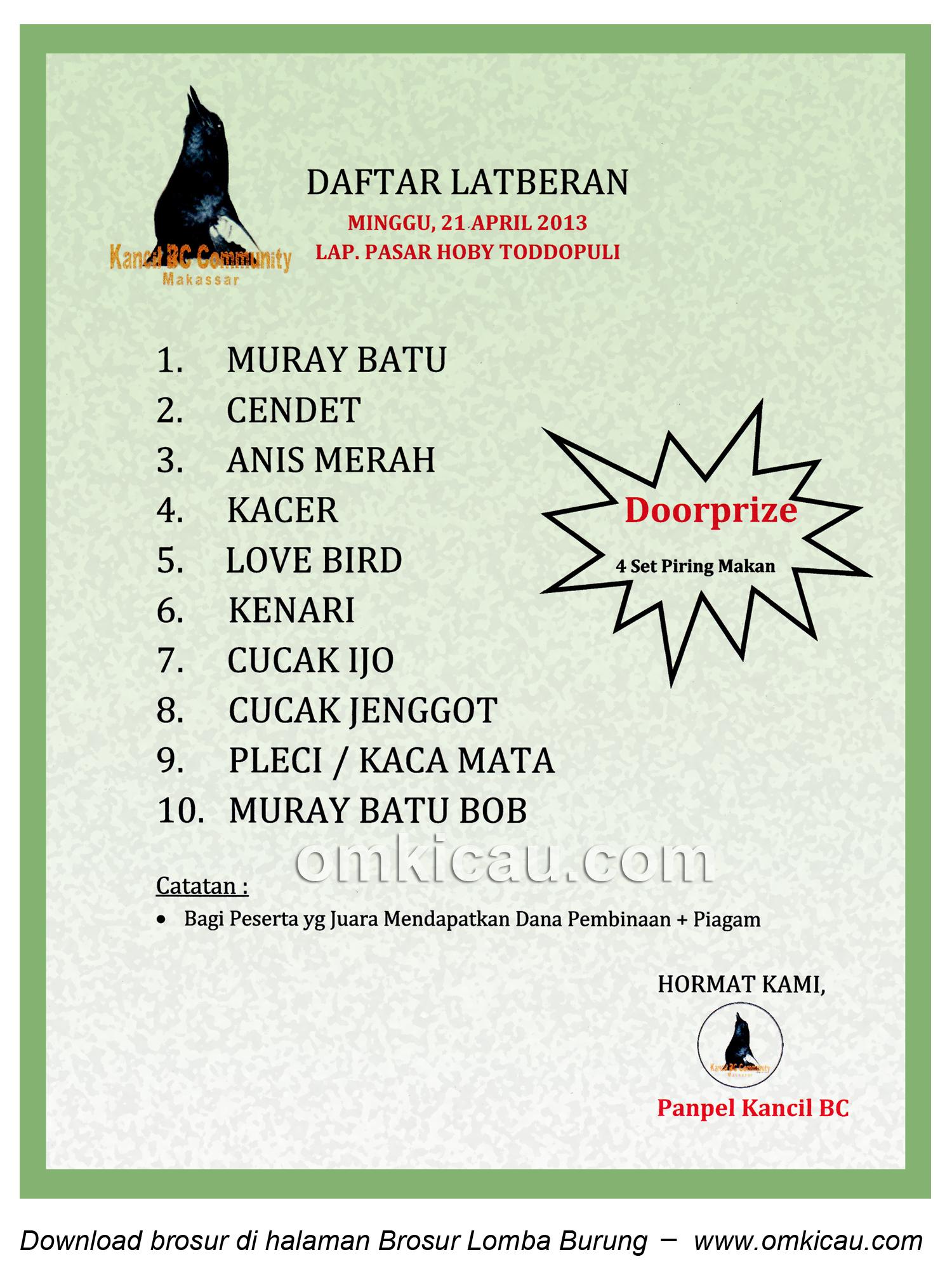 Brosur Latberan Kancil BC Makassar