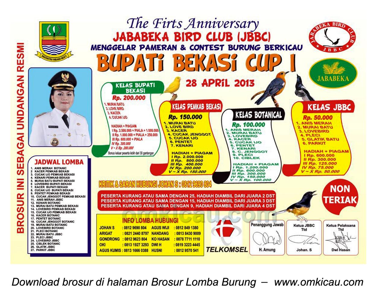 Brosur Lomba Burung Bupati Cup I, Bekasi, 28 April 2013