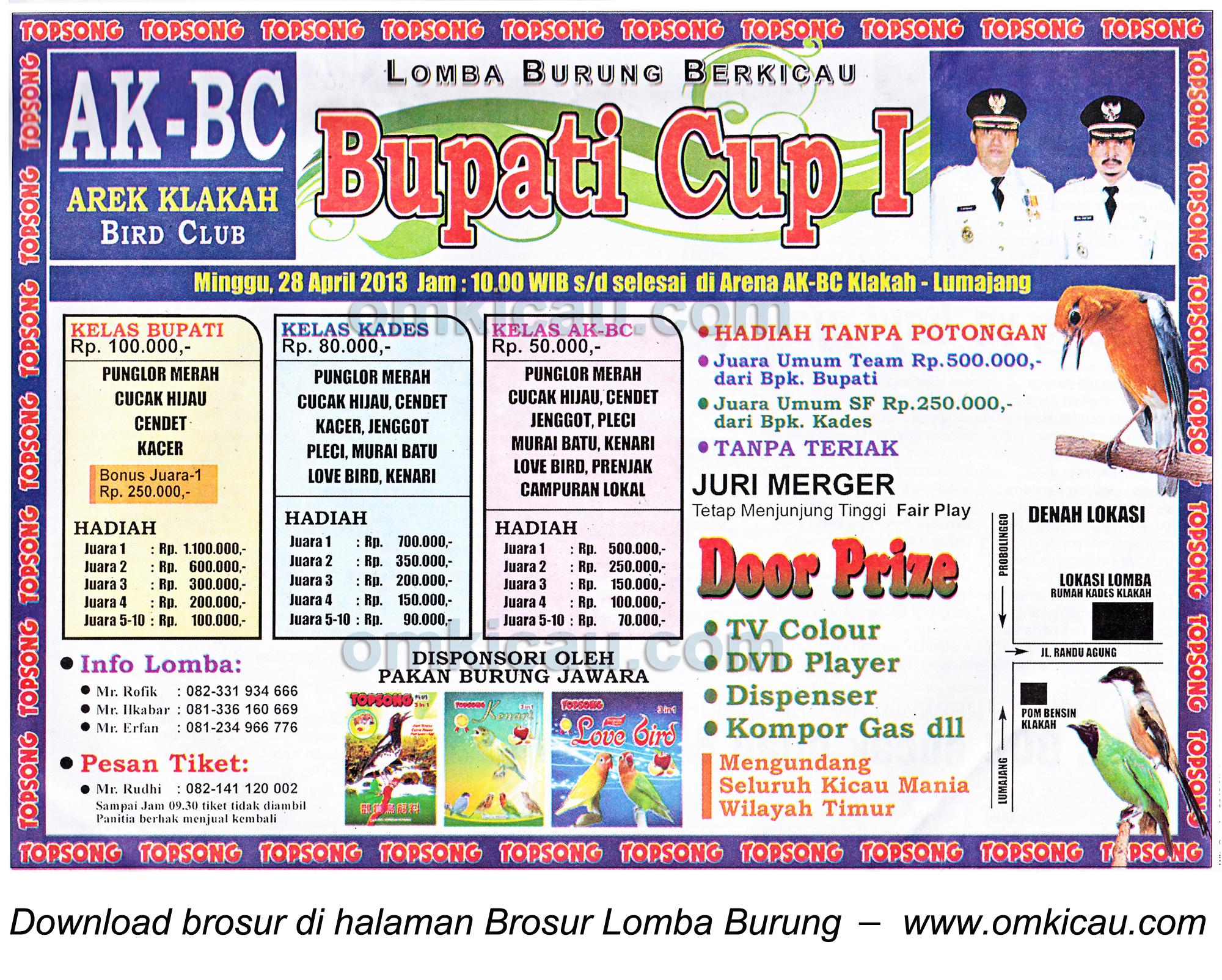 Brosur Lomba Burung Bupati Cup I, Lumajang, 28 April 2013