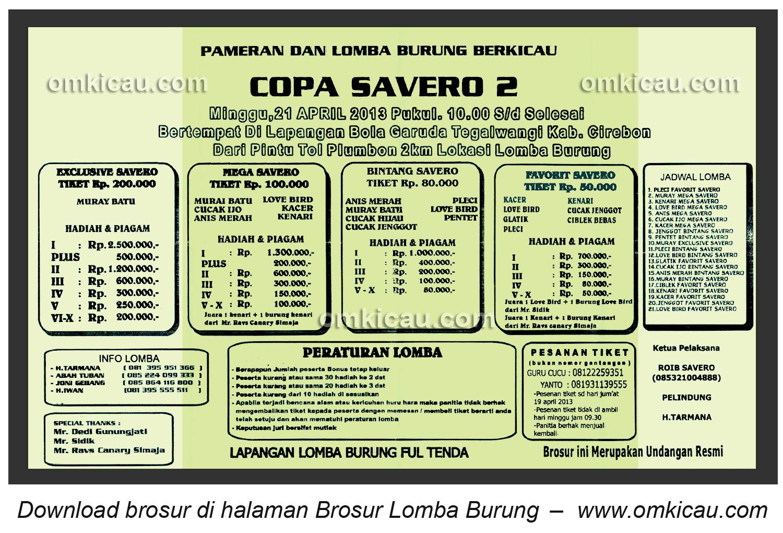 Brosur Lomba Burung Copa Savero Cirebon 21 April 2013