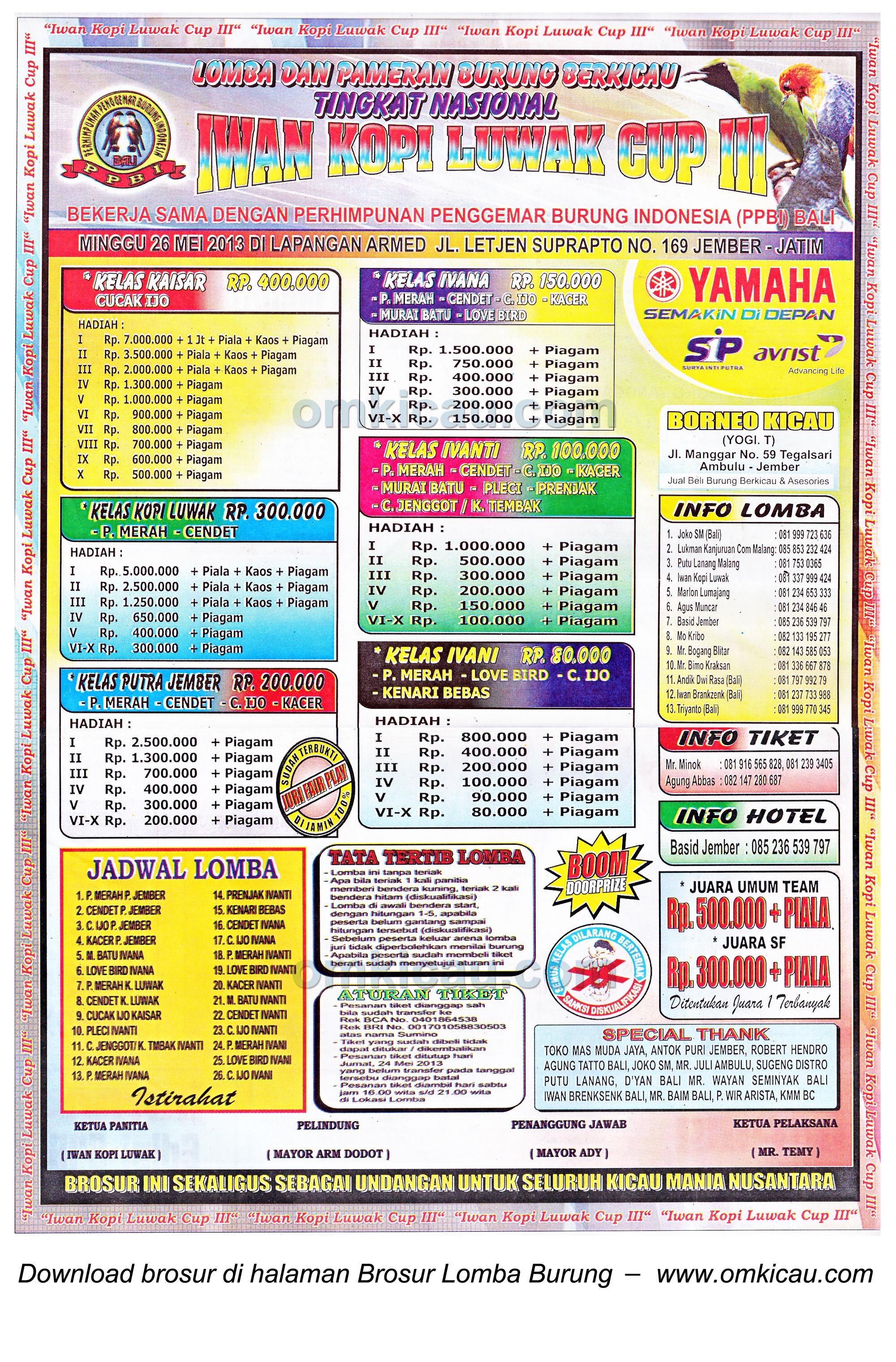 Brosur Lomba Burung Iwan Kopi Luwak Cup III, Jember, 26 Mei 2013