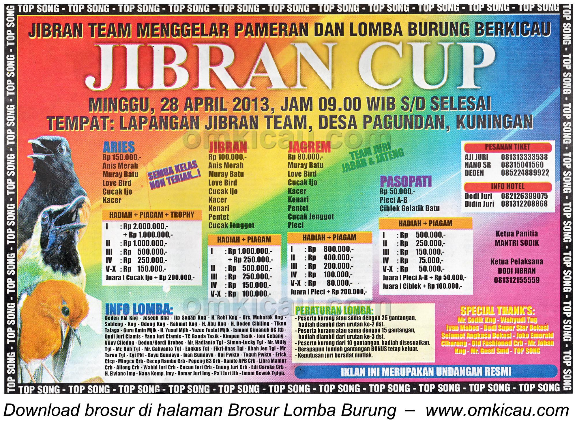 Brosur Lomba Burung Jibran Cup - Kuningan - 28 April 2013