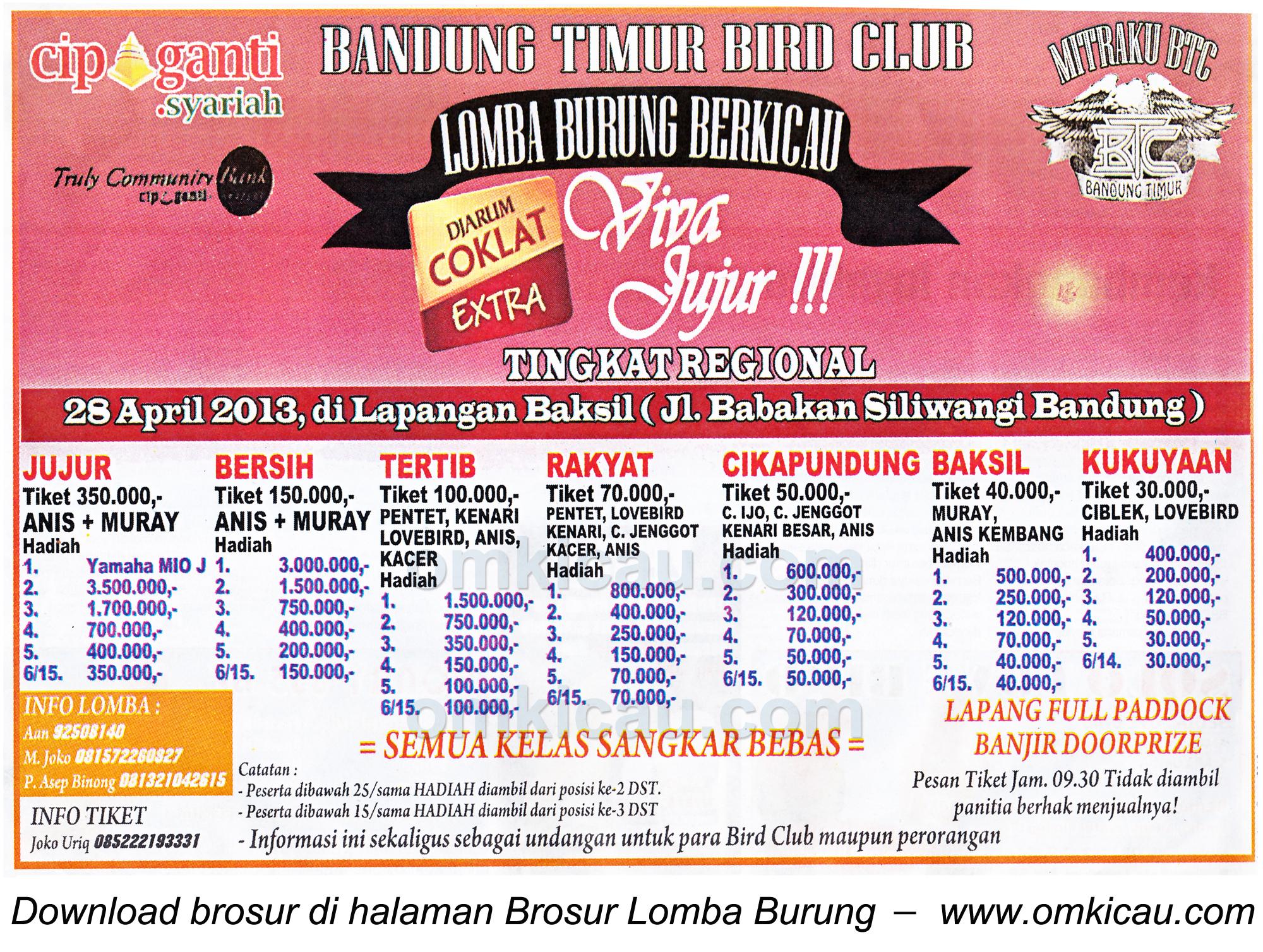 Brosur Lomba Burung Tingkat Regional, Bandung, 28 April 2013