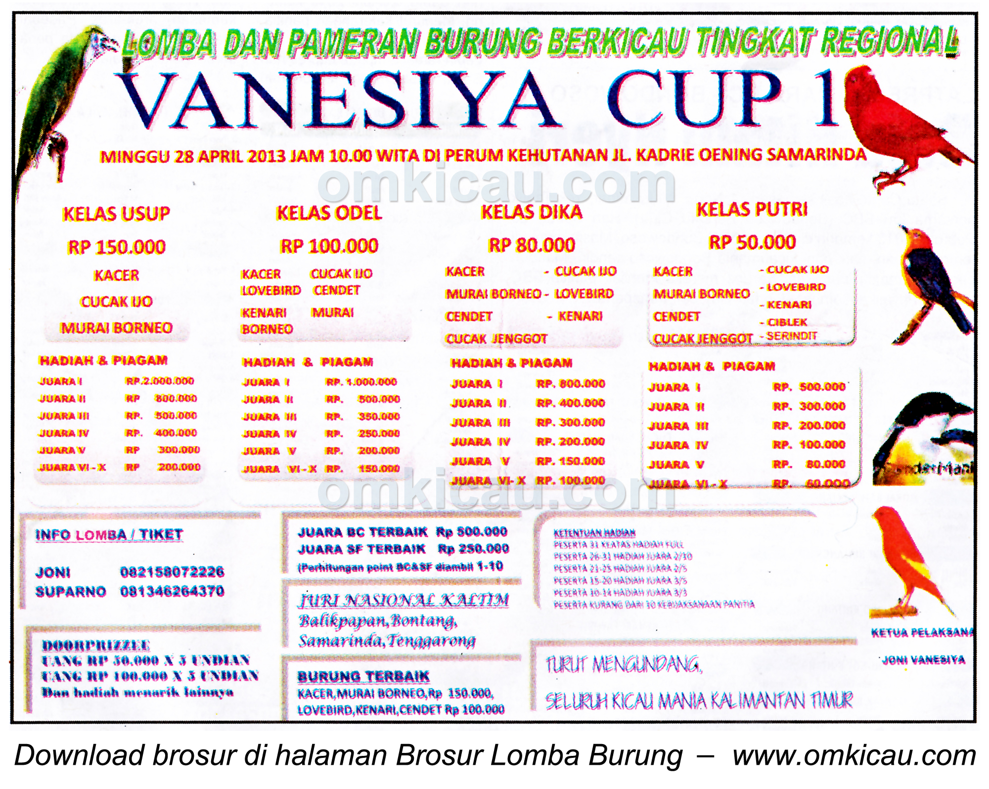 Brosur Lomba Burung Vanesiya Cup I - Samarinda - 28 April 2013