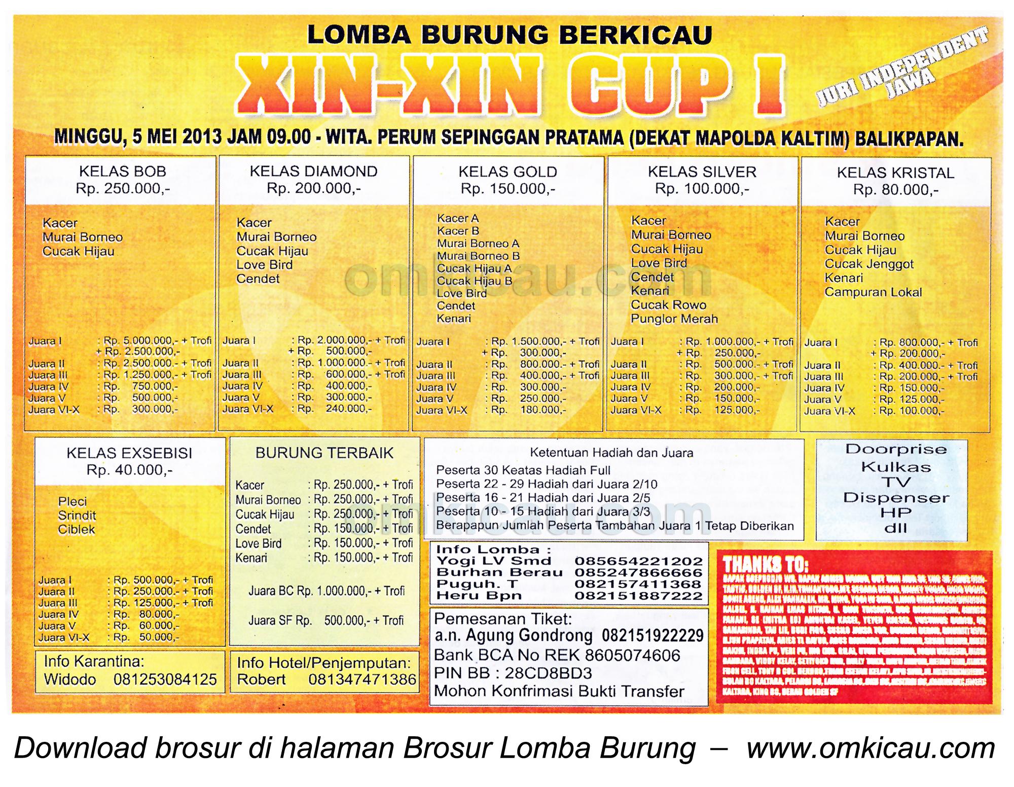 Brosur Lomba Burung Xin - Xin Cup - Balikpapan - 5 Mei 2013