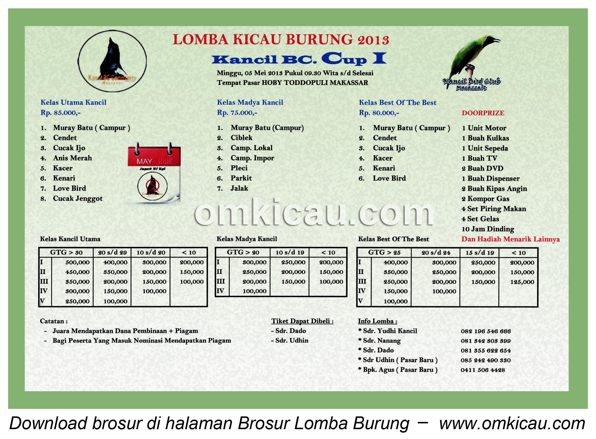 Brosur Lomba Kancil BC Makassar - 5 Mei 2013