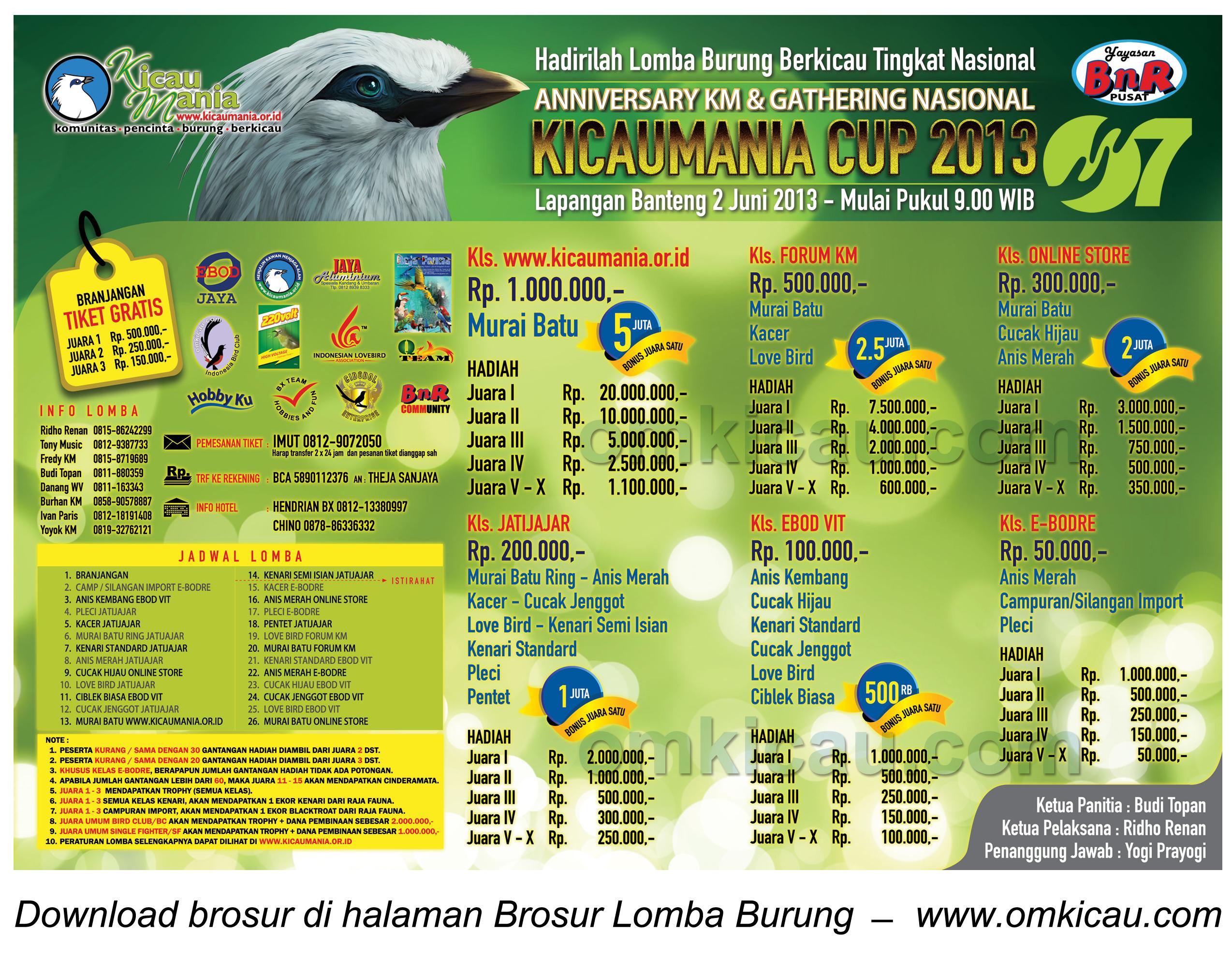 Brosur Lomba Kicaumania Cup - 2 Juni 2013