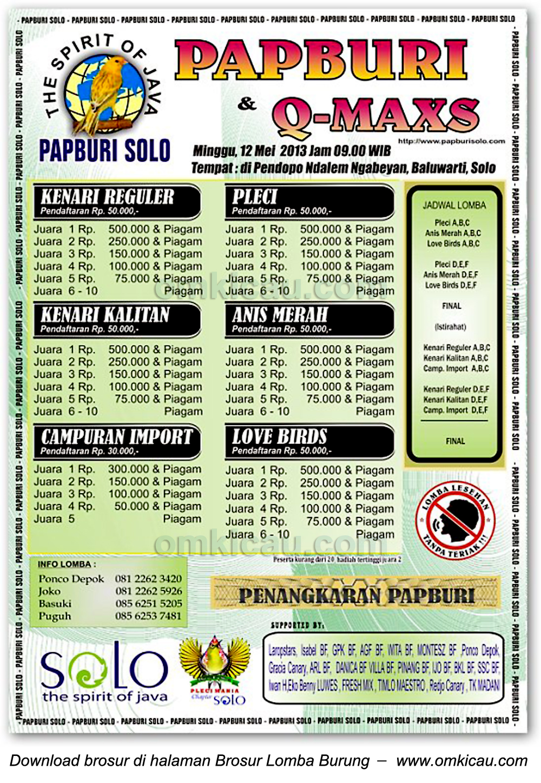 Brosur Lomba Papburi Solo 12 Mei 2013