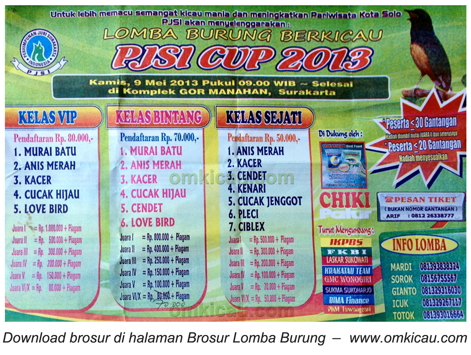 Brosur Lomba PJSI Cup Solo 9 Mei 2013