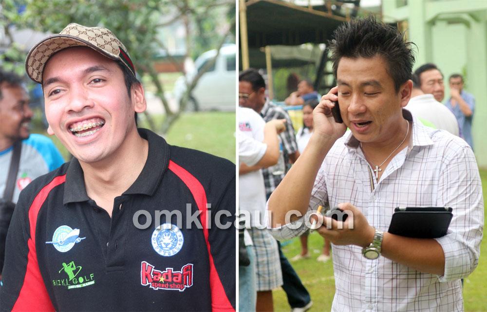 M Khadafi Lampung (kiri) dan Andre Jambi sibuk menyiapkan Liga Sumatera 2013.