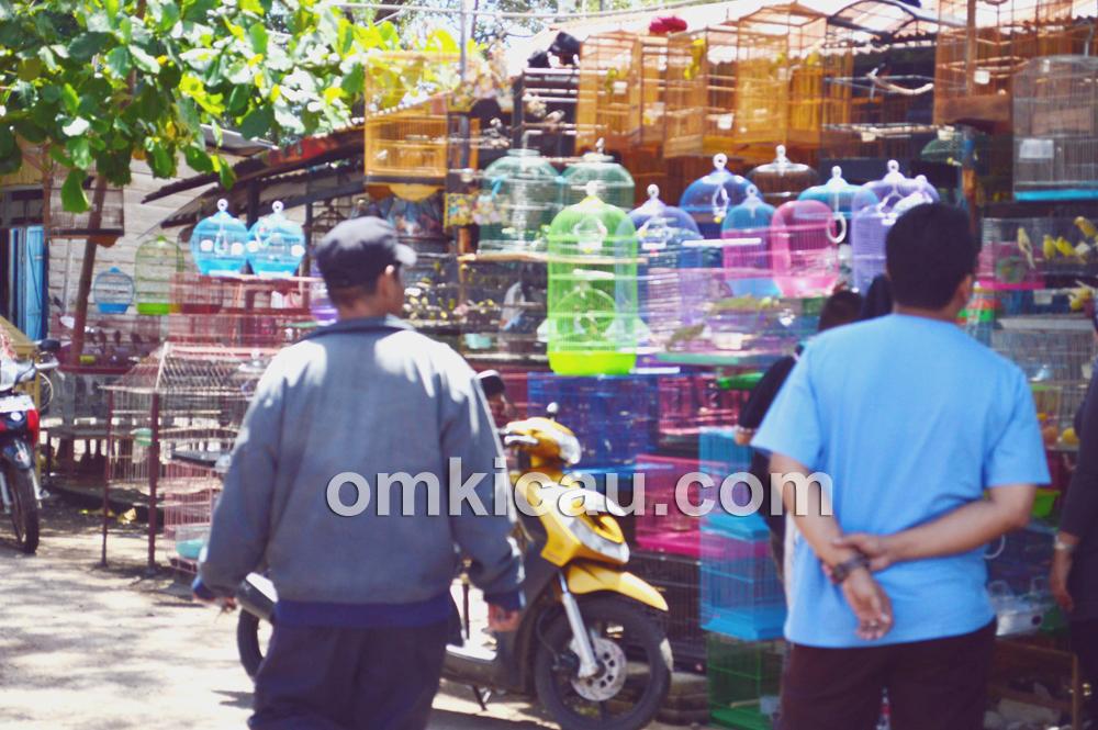 Pedagang sangkar burung pun ikut menikmati rezeki. (Foto: Om Pay)