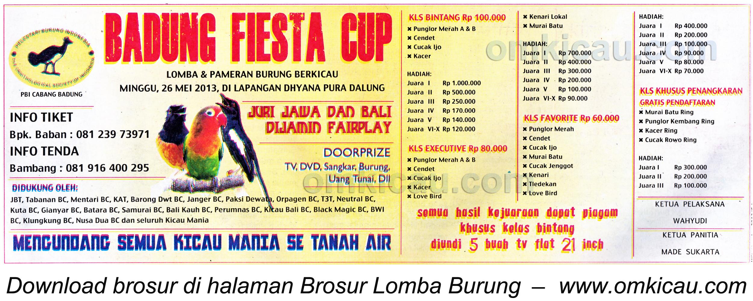 Brosur Lomba Burung Badung Fiesta Cup - 26 Mei 2013