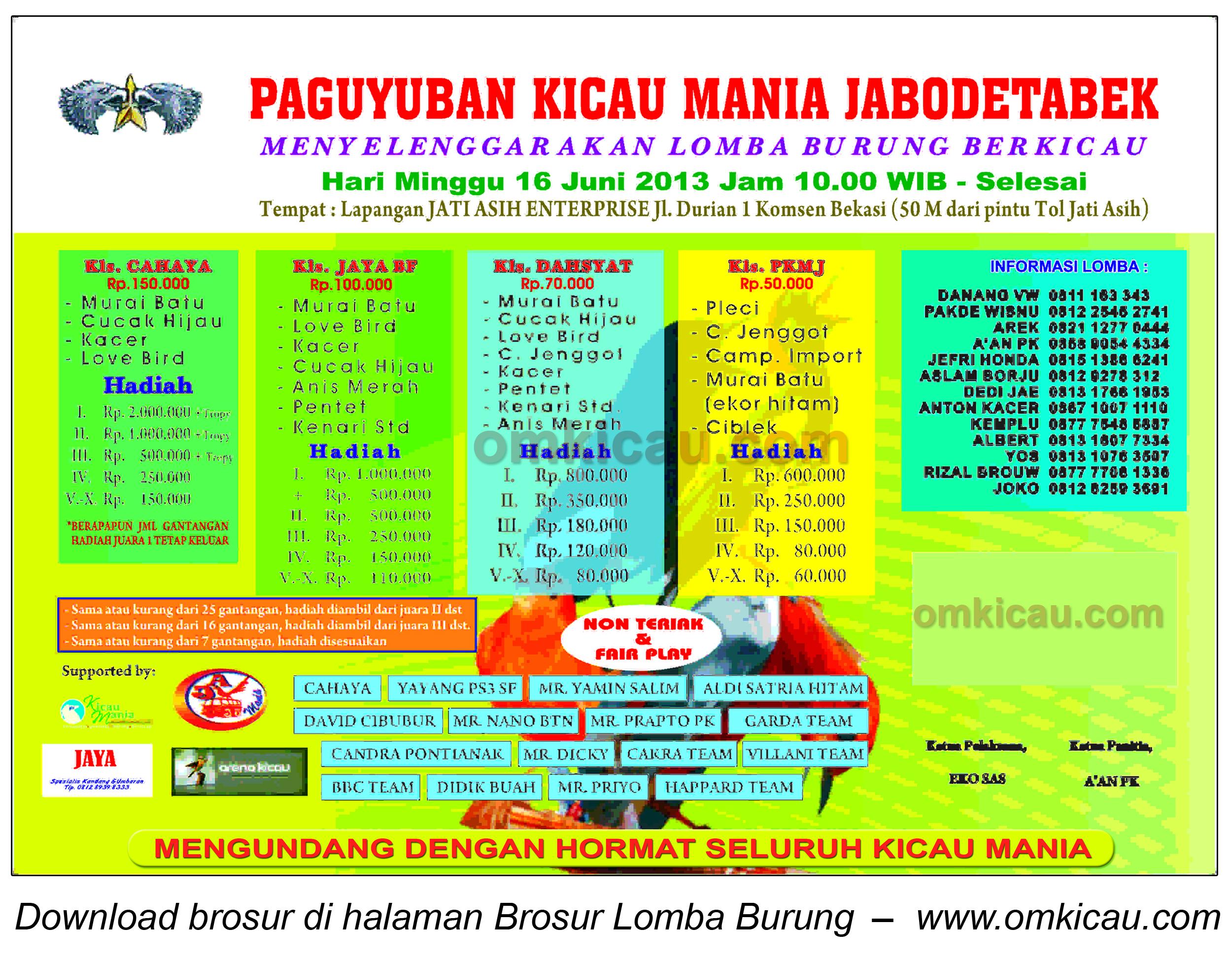 Brosur Lomba Burung Berkicau PKMJ, Bekasi, 16 Juni 2013