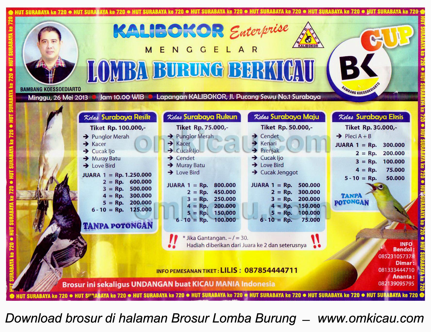 Brosur Lomba Burung BK Cup Surabaya 26 Mei 2013