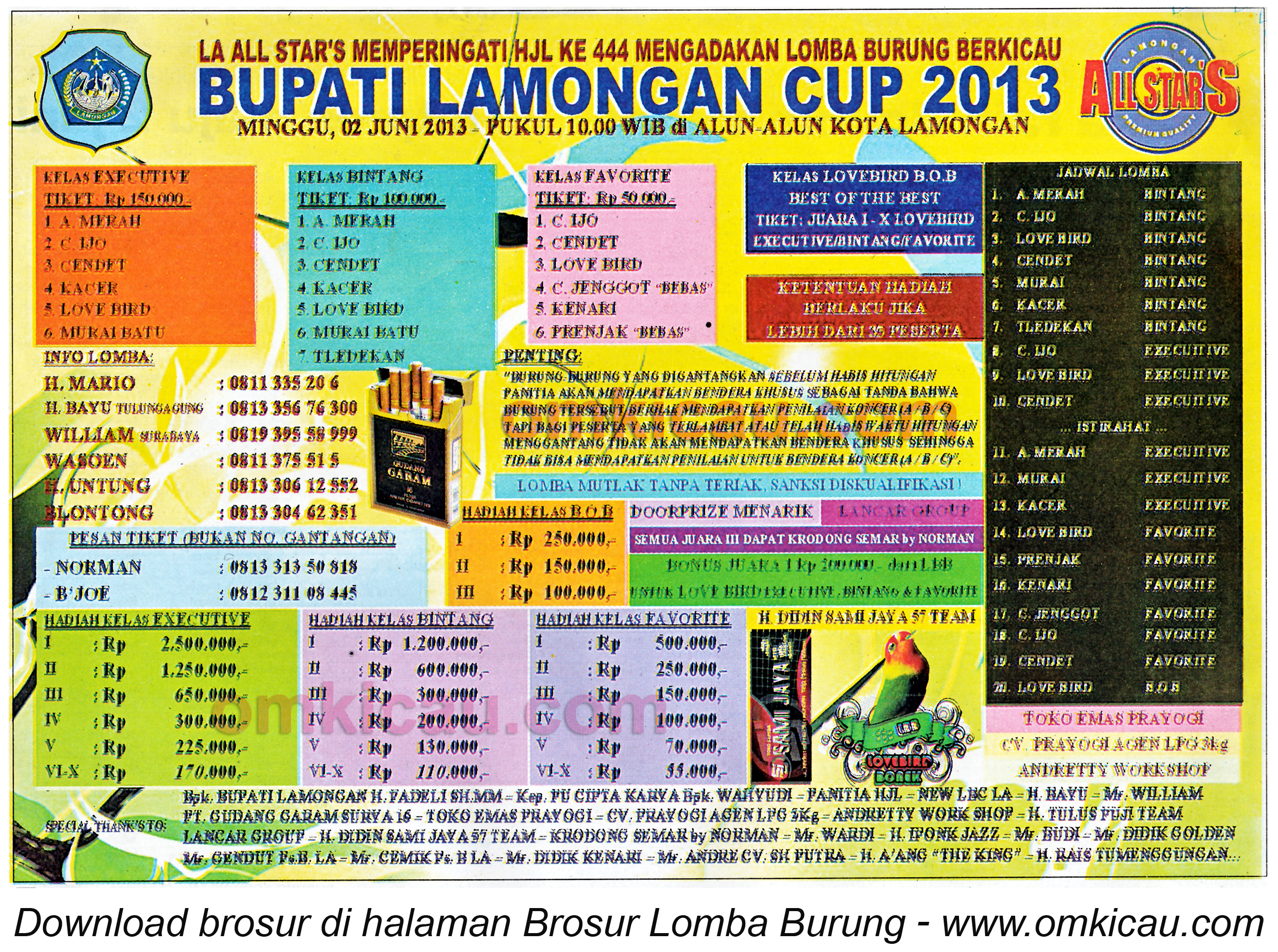 Brosur Lomba Burung Bupati Lamongan Cup 2 Juni 2013