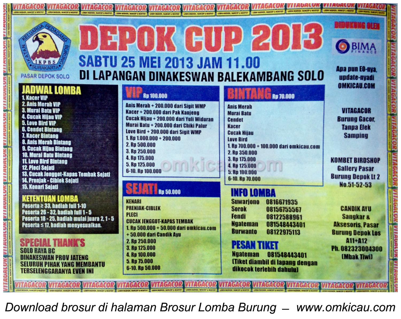 Brosur Lomba Burung Depok Cup 2013 Solo