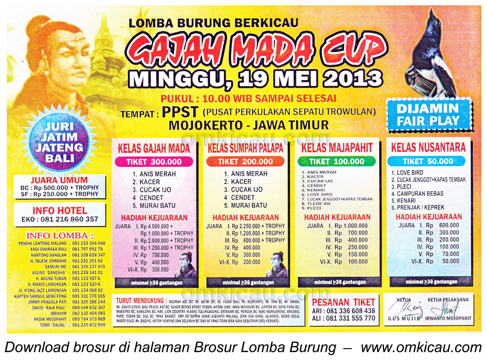 Brosur Lomba Burung Gajahmada Cup - Mojokerto - 19 Mei 2013