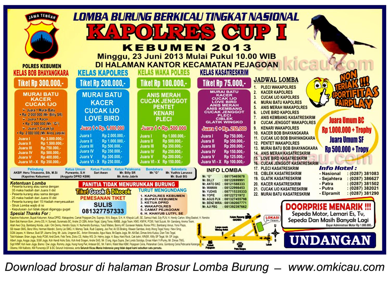 Brosur Lomba Burung Kapolres Cup I Kebumen 23 Juni 2013