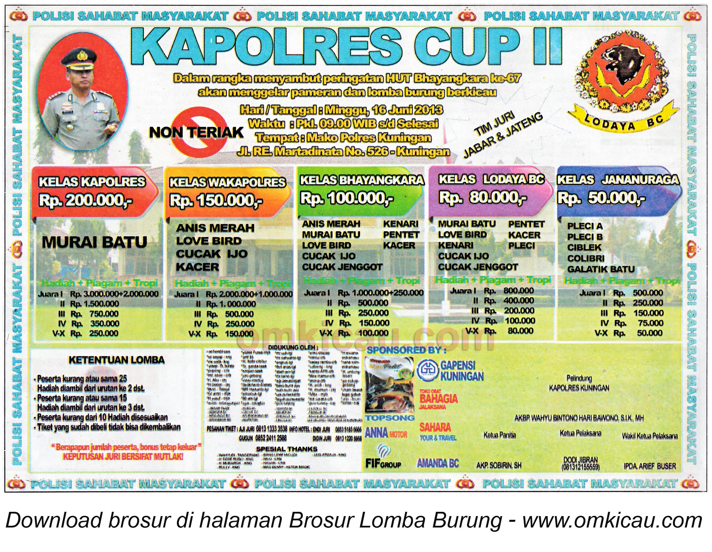 Brosur Lomba Burung Kapolres Cup II Kuningan