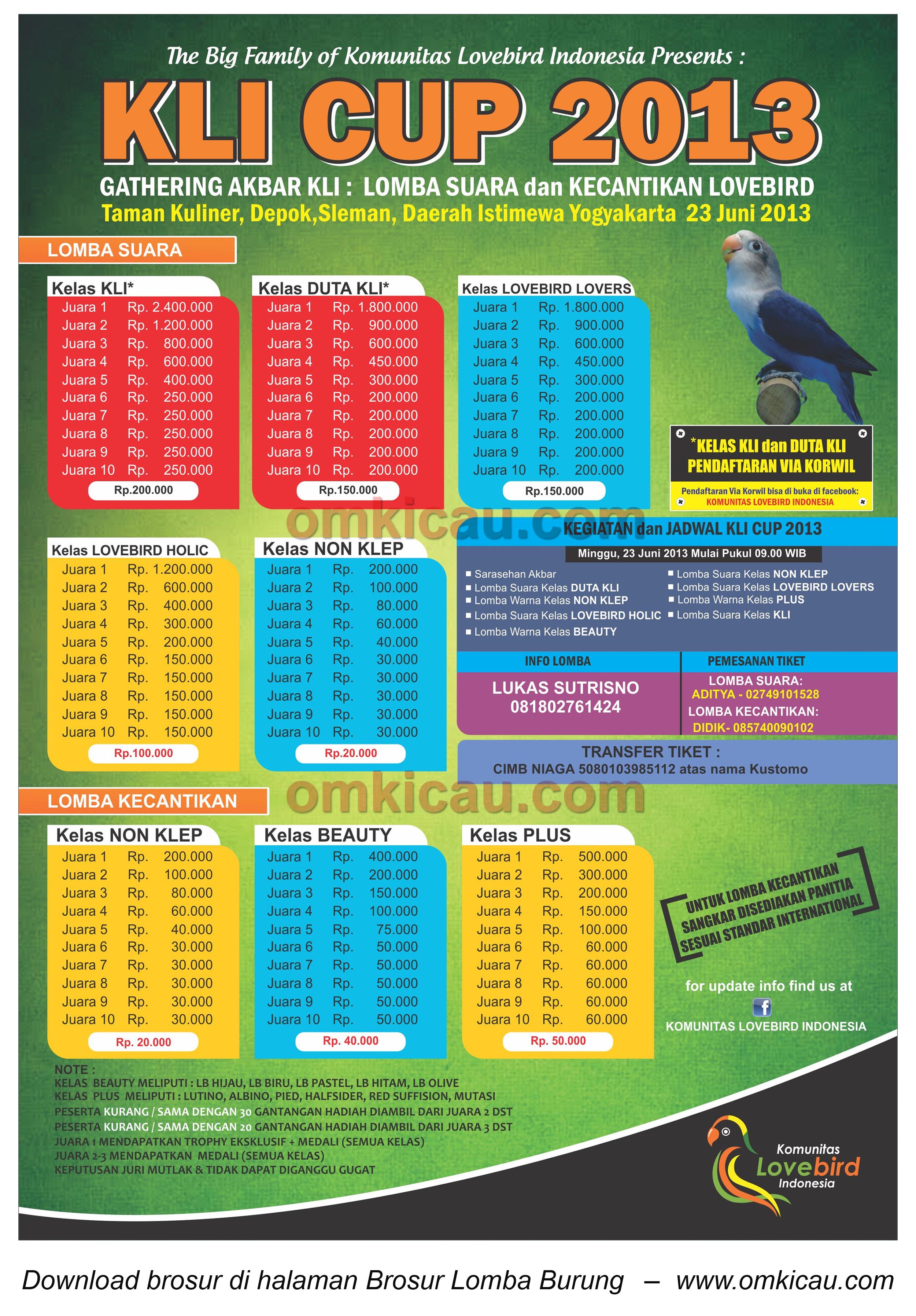 Brosur Lomba Burung KLI Cup - Jogja - 23 Juni 2013