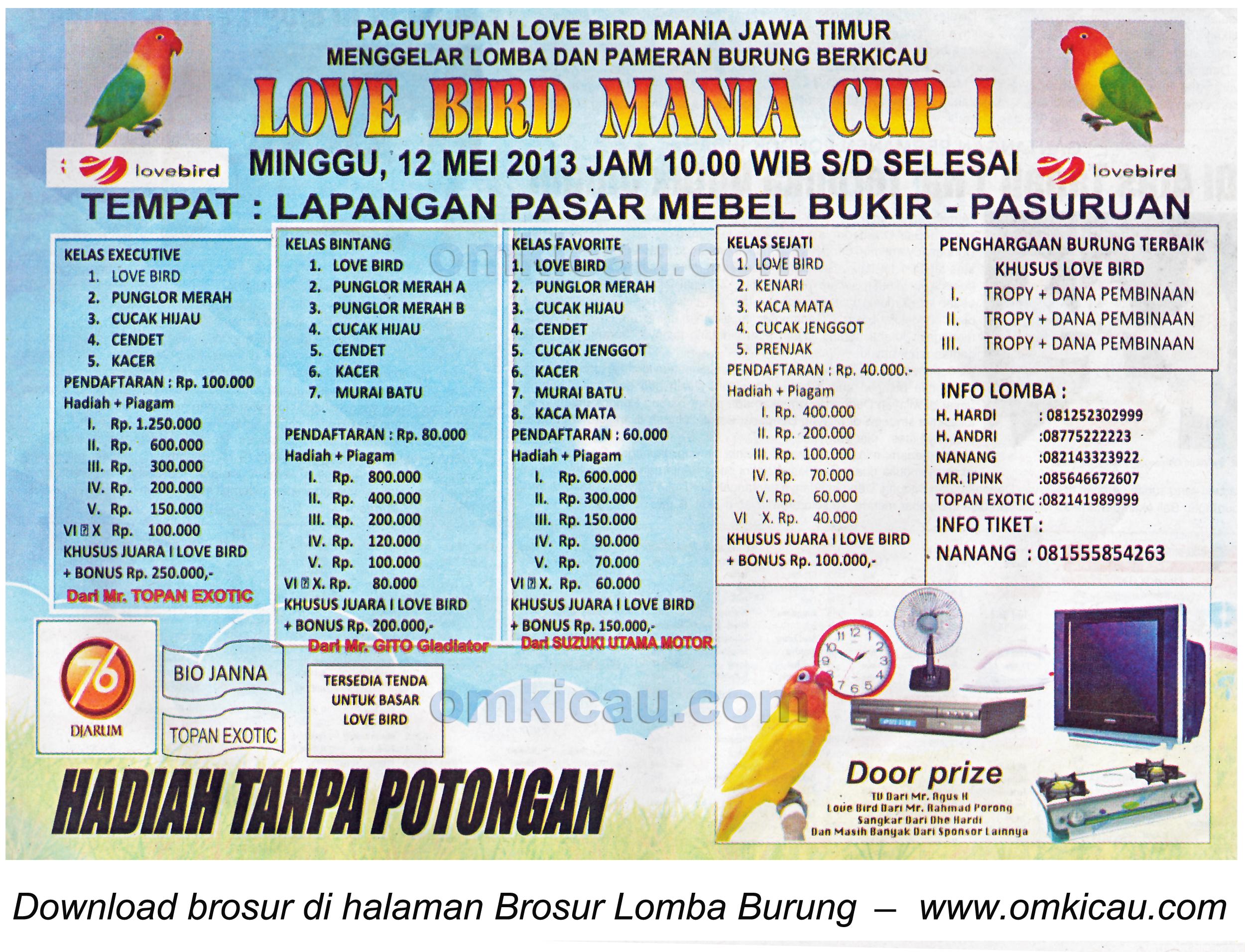 Brosur Lomba Burung Lovebird Mania Cup I - Pasuruan - 12 Mei 2013