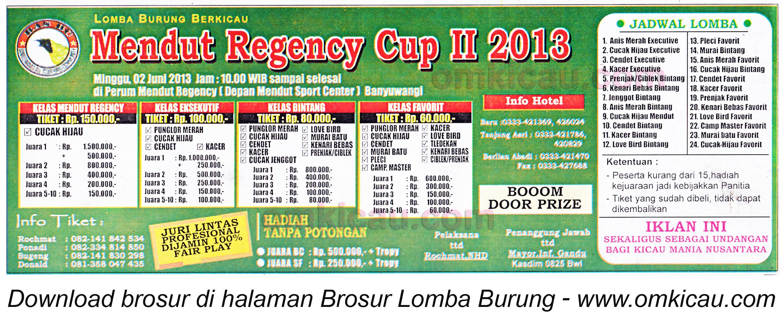 Brosur Lomba Burung Mendut Regency Cup II 2 Juni 2013