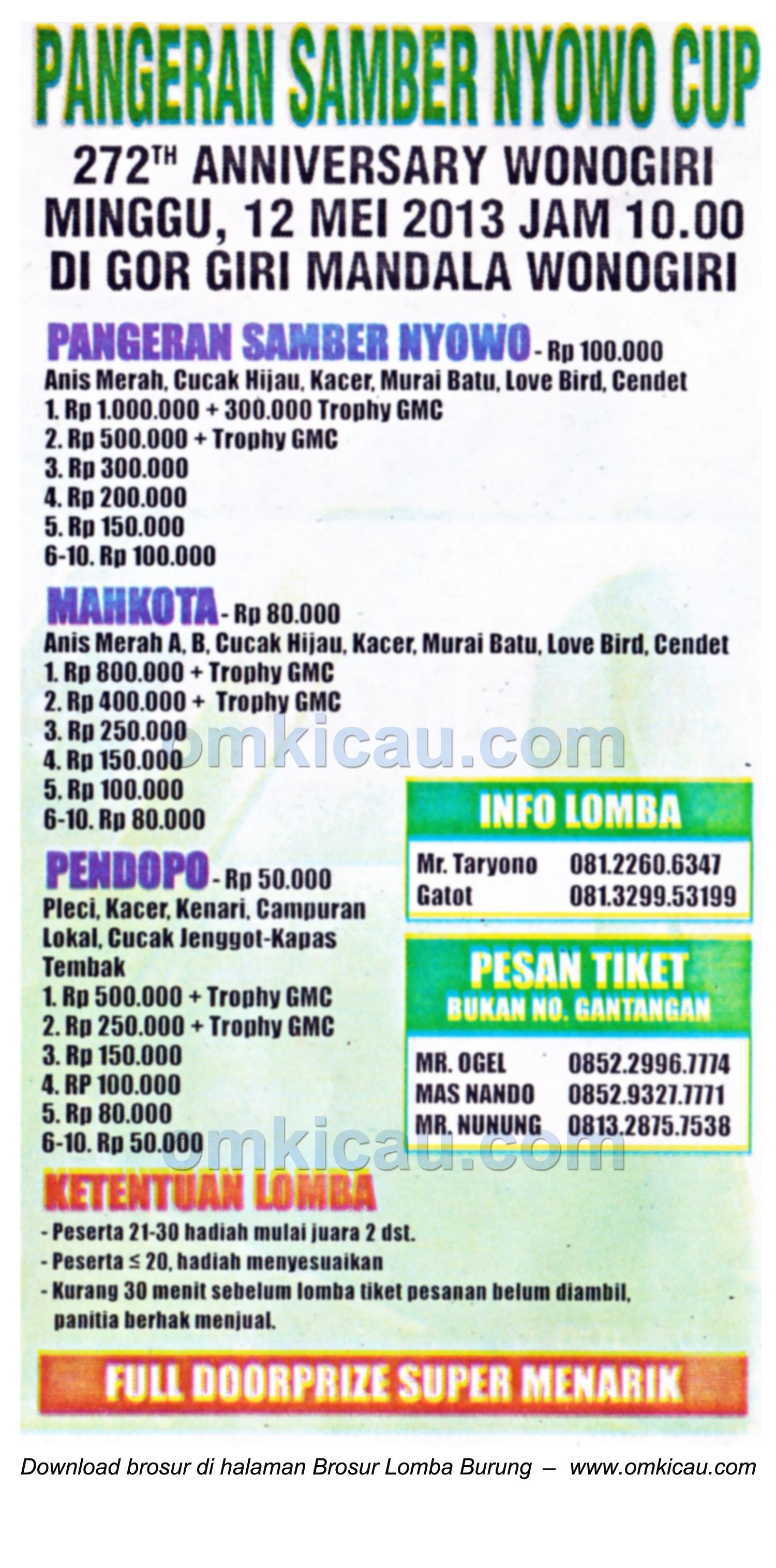 Brosur Lomba Burung Pangeran Samber Nyowo Cup, Wonogiri, 12 Mei 2013
