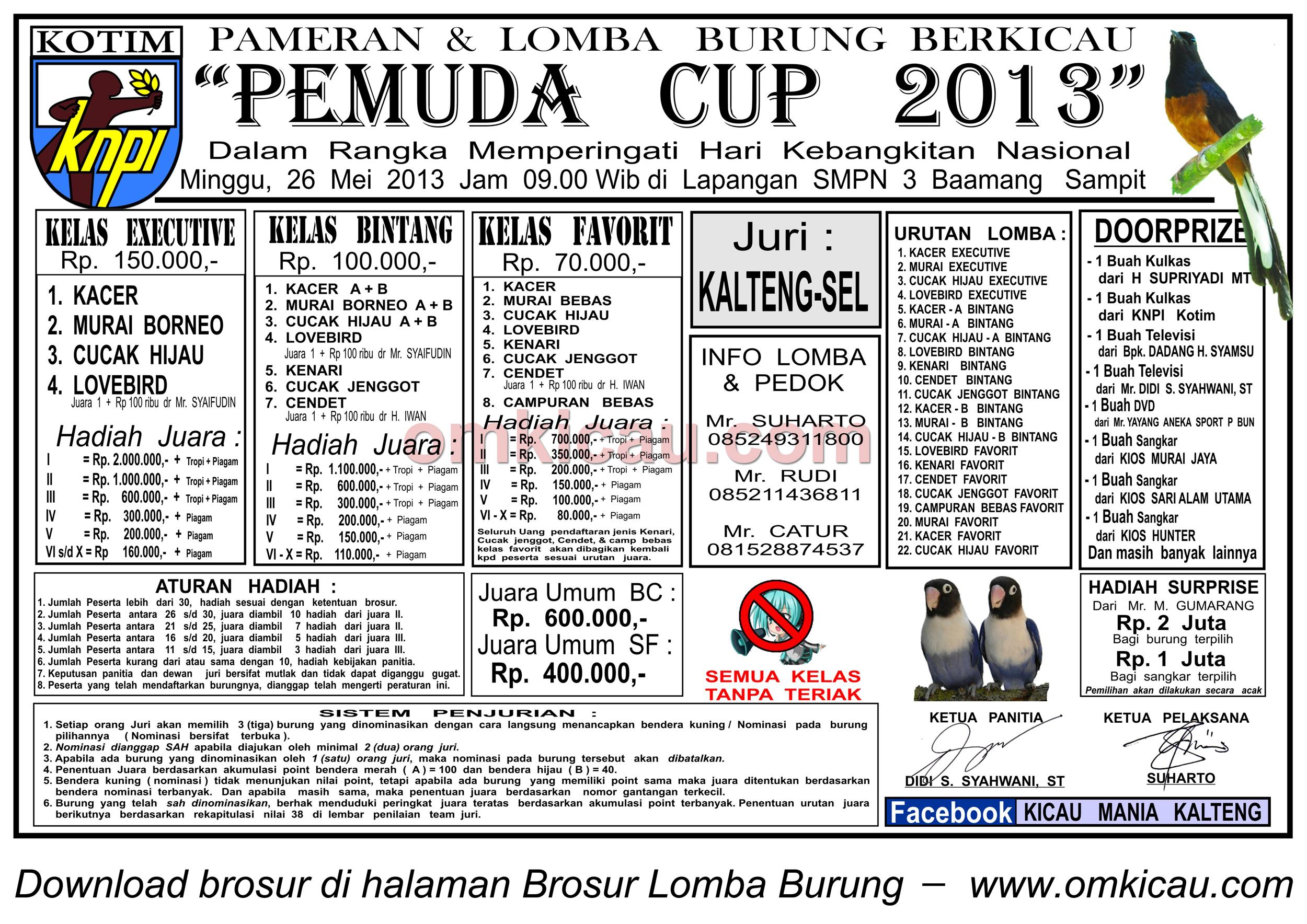 Brosur Lomba Burung Pemuda Cup 2013