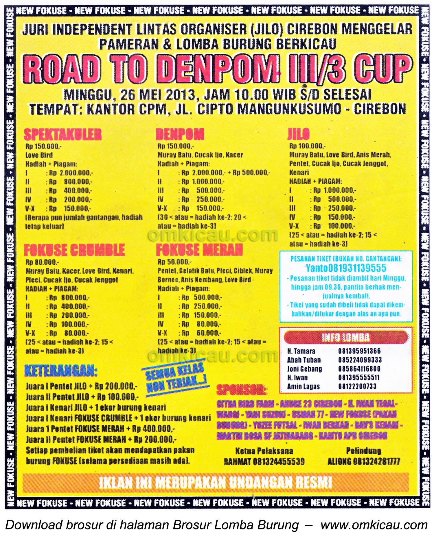 Brosur Lomba Burung Road to Denpom III Cup